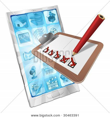 Encuesta en línea teléfono la aplicación portapapeles concepto