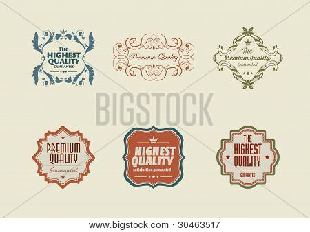 Vintage Styled Retro Stickers With Ornaments