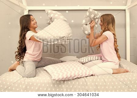Soulmates Girls Having Fun Sleepover Party. Pillow Fight Pajama Party. Sleepover Time For Fun. Best