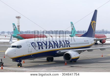 Boryspil, Ukraine - March 23, 2018: The First Ryanair Plane Landed At Kyiv Boryspil Airport. On This
