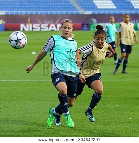 Kyiv, Ukraine - May 23, 2018: Eugenie Le Sommer (l) And Selma Bacha Of Olympique Lyonnais In Action