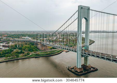 Aerial View Of The Verrazzano-narrows Bridge In Brooklyn And Staten Island.
