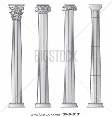A Set Of Antique Greek And Historical Columns With Ionic, Doric And Corinthian Capitals Vector Line