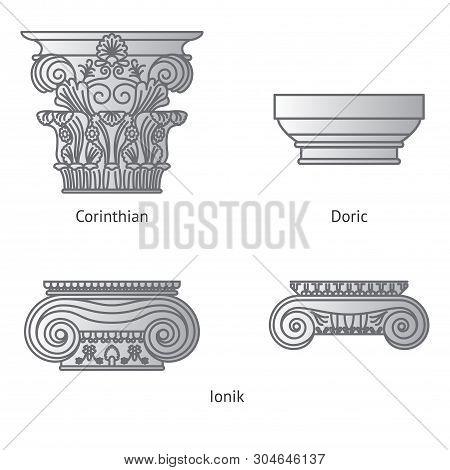 Antique Set Of Greek Historical Capitals For Calon: Ionic, Doric And Corinthian Capitals Vector Line