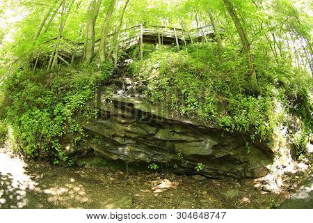 Rock Formation Under Staircase At Amicalola Falls State Park