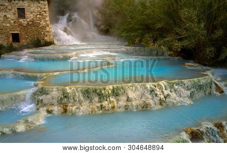 natural spa with waterfalls and hot springs at Saturnia thermal baths, Grosseto, Tuscany, Italy