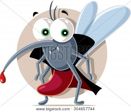 Vampire Mosquito Vector Cartoon Illustration Character Design