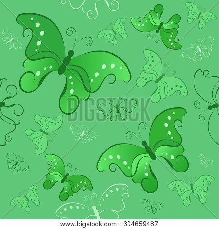 Green Seamless Pattern With Beatifull Butterflies ( Green Pattern )