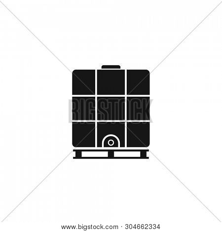 Ibc container silhouette icon. Intermediate Bulk Container. Clipart image isolated on white background poster