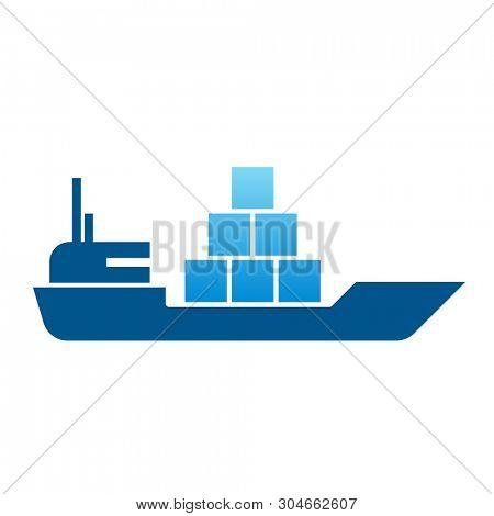 Freight ship glyph. Clipart image isolated on white background