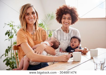 Portrait Of Two Mothers With Babies Meeting Around Table On Play Date At Home