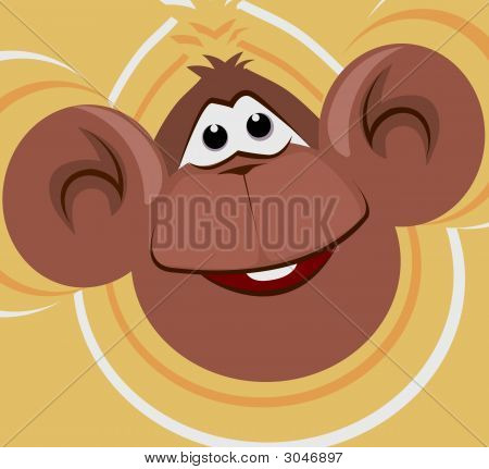 Illustration of a monkey laughing with floral background poster
