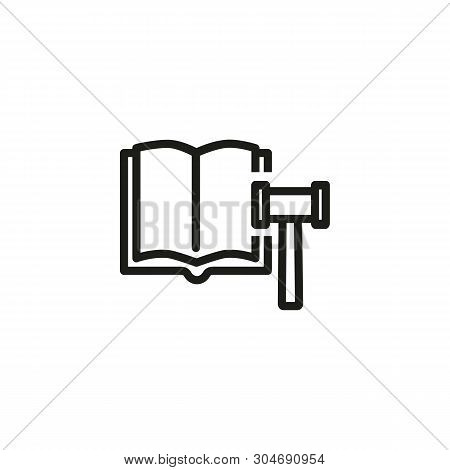 Corporate Law Line Icon. Constitution, Book, Gavel. Court Concept. Can Be Used For Topics Like Juris