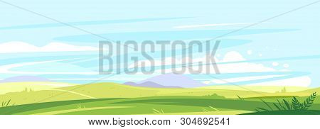 Big Panorama Of Fields And Meadows, Summer Countryside With Green Hills, Summer Sunny Glades With Fi