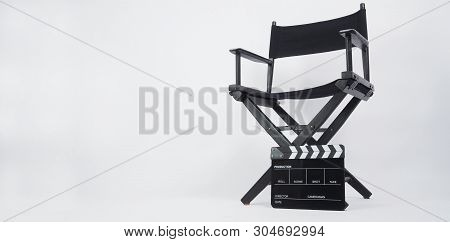 Black Clapper Board Or Movie Slate With Director Chair Use In Video Production Or Movie And Cinema I