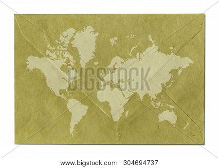 Vintage world map on old paper envelope poster