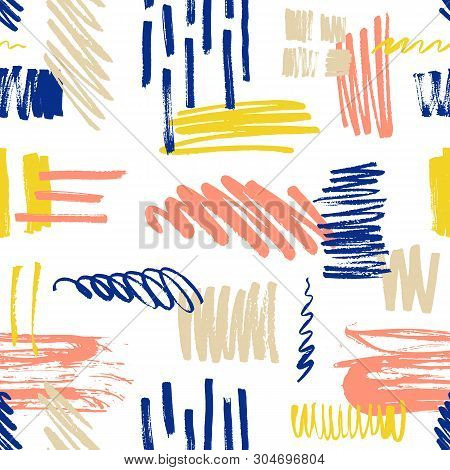 Motley Seamless Pattern With Scribble And Paint Splotches Or Smudges On White Background. Vibrant Ba