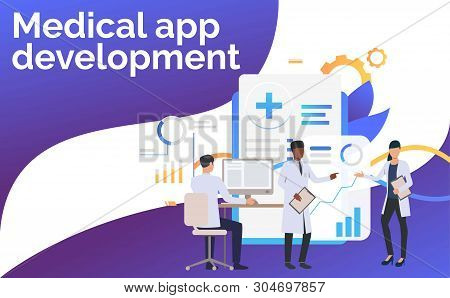 Medics Working With Computer And Charts Vector Illustration. Medical Data, Statistics, Healthcare Te