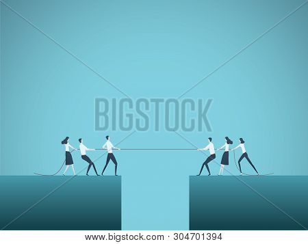 Business Tug Of War Vector Concept. Symbol Of Competition, Market Share, Struggle, Rivalry And Also