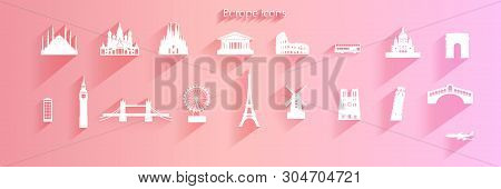 Travel Icon Set Of Europe Architecture Symbol On Pink Background With Long Shadow,  Travel Europe La