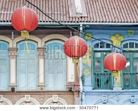 Three chinese lanterns in street
