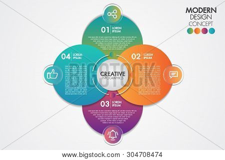 Business Infographics Element.circle Chart Template Chart With 4 Steps Or Options For Presentations