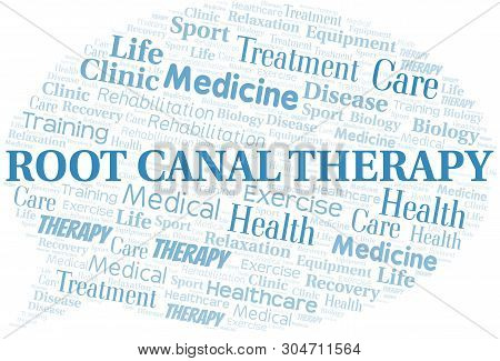 Root Canal Therapy Word Cloud. Wordcloud Made With Text Only.