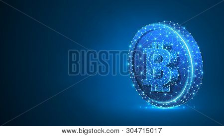 Bitcoin Cryptocurrency On A Coin. Polygonal Business, Money, Currency, Cash, Circle Concept. Abstrac