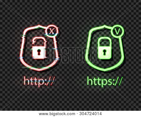 Vector Neon Icons: Http And Https Protocols With Lock, Green And Red Bright Symbols, Check And Cross