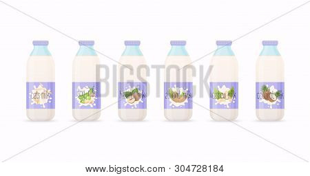 Classic Milk Bottles With Different Variation Of Plant Based Milk. Nuts Set: Hazelnut, Coconut, Almo