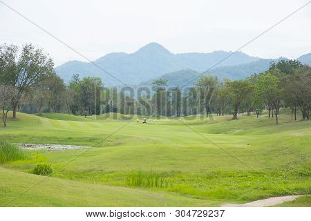 Golf Course Landscape With Grass  Treesand  Hill