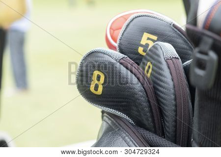 Close-up View Of Golf Club Heads In Bag