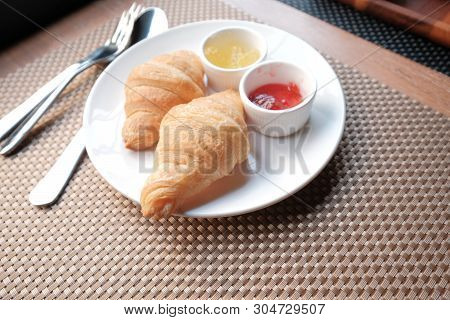 Wonderful Morning Breakfast Set Meal With Croissants And Jam