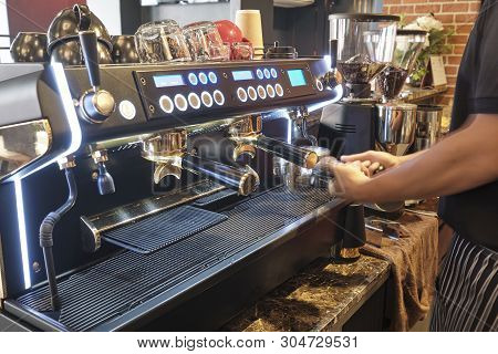 Professional Coffee Machine For Making Espresso In A Cafe
