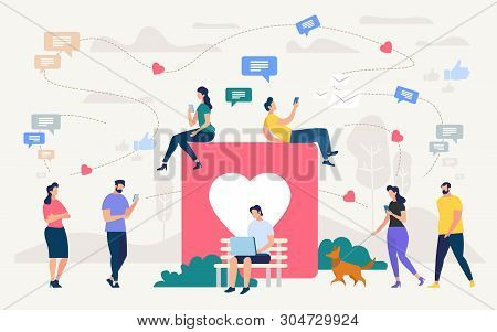 Social Network Community, Digital Marketing Flat Vector Concept. People With Cellphones, Laptop Chat