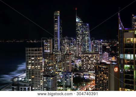 Gold Coast, Australia - May 31 2019: Surfers Paradise Nightscape Aerial Views