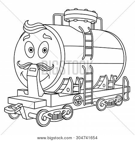 Coloring Page. Colouring Picture. Cute Cartoon Fuel Tank. Rail Wagon For Chemical Industry Delivery.