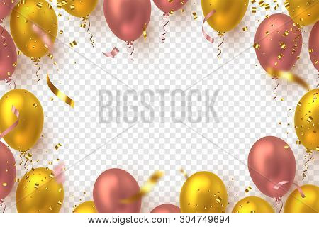 Glossy Balloons In Pink And Golden Colors With Confetti. Vector Balloons Frame For Holiday Backgroun