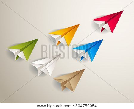 Flying Origami Plane Leading The Team Group Of Smaller Planes, Business Leadership Concept, Vector M