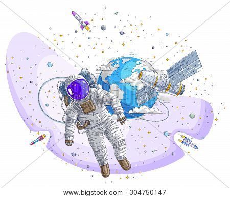 Astronaut Went Out Into Open Space Connected To Space Station And Earth Planet In Background, Spacem