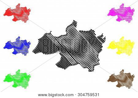 Bordj Bou Arreridj Province (Provinces of Algeria, Peoples Democratic Republic of Algeria) map vector illustration, scribble sketch Bordj Bou Arreridj map poster