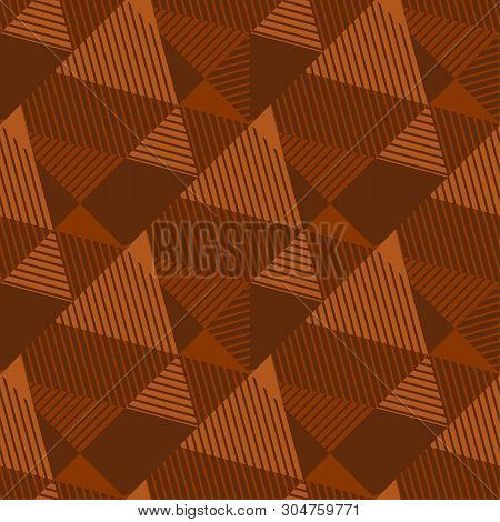 Terra-cotta Natural Color Geometric Seamless Pattern. Geometry Stripe And Triangle Repeatable Motif.