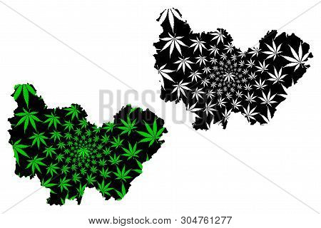 Bourgogne-franche-comte (france, Administrative Region, Bfc) Map Is Designed Cannabis Leaf Green And