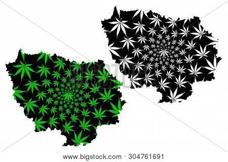 Ile-de-france (france, Administrative Region) Map Is Designed Cannabis Leaf Green And Black, Ile-de-