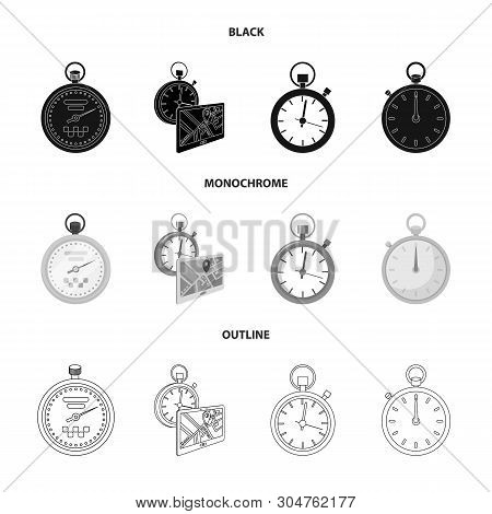 Vector Illustration Of Stopwatch And Watch Sign. Collection Of Stopwatch And Stop Vector Icon For St