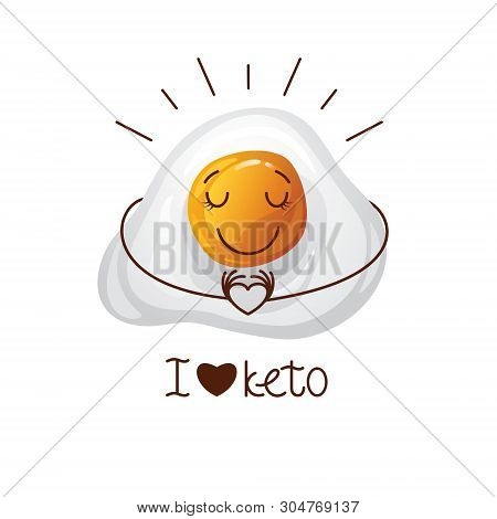 Color Vector Illustration With The Inscription I Love Keto. Funny Egg Character. Cute Face, Cartoon