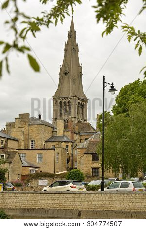 Stamford, United Kingdom. May 31, 2019 - Street View Of City Centre. Old Buidings, Stamford England