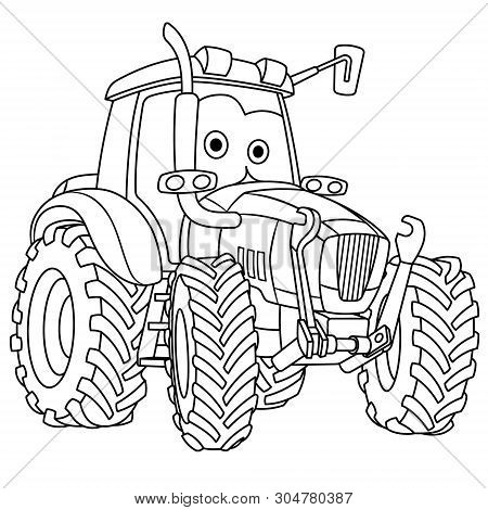 Coloring Page. Colouring Picture. Cute Cartoon Tractor. Agricultural Farming Vehicle. Childish Desig