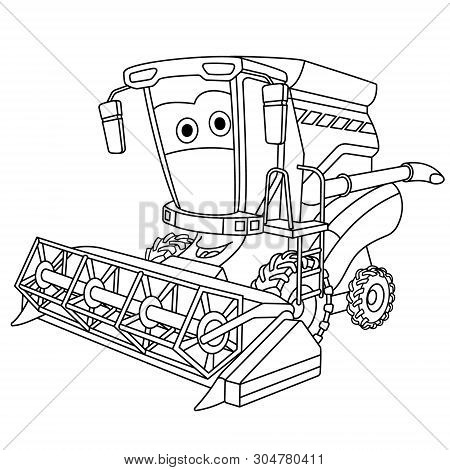 Coloring Page. Colouring Picture. Cute Cartoon Harvester Combine. Agricultural Farming Vehicle. Chil