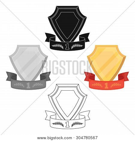 Golden Award With Red Ribbon.the Medal Of Valor.awards And Trophies Single Icon In Cartoon, Black St